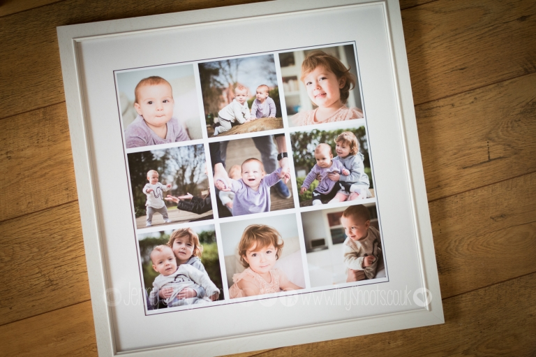 Framed montage of family portraits