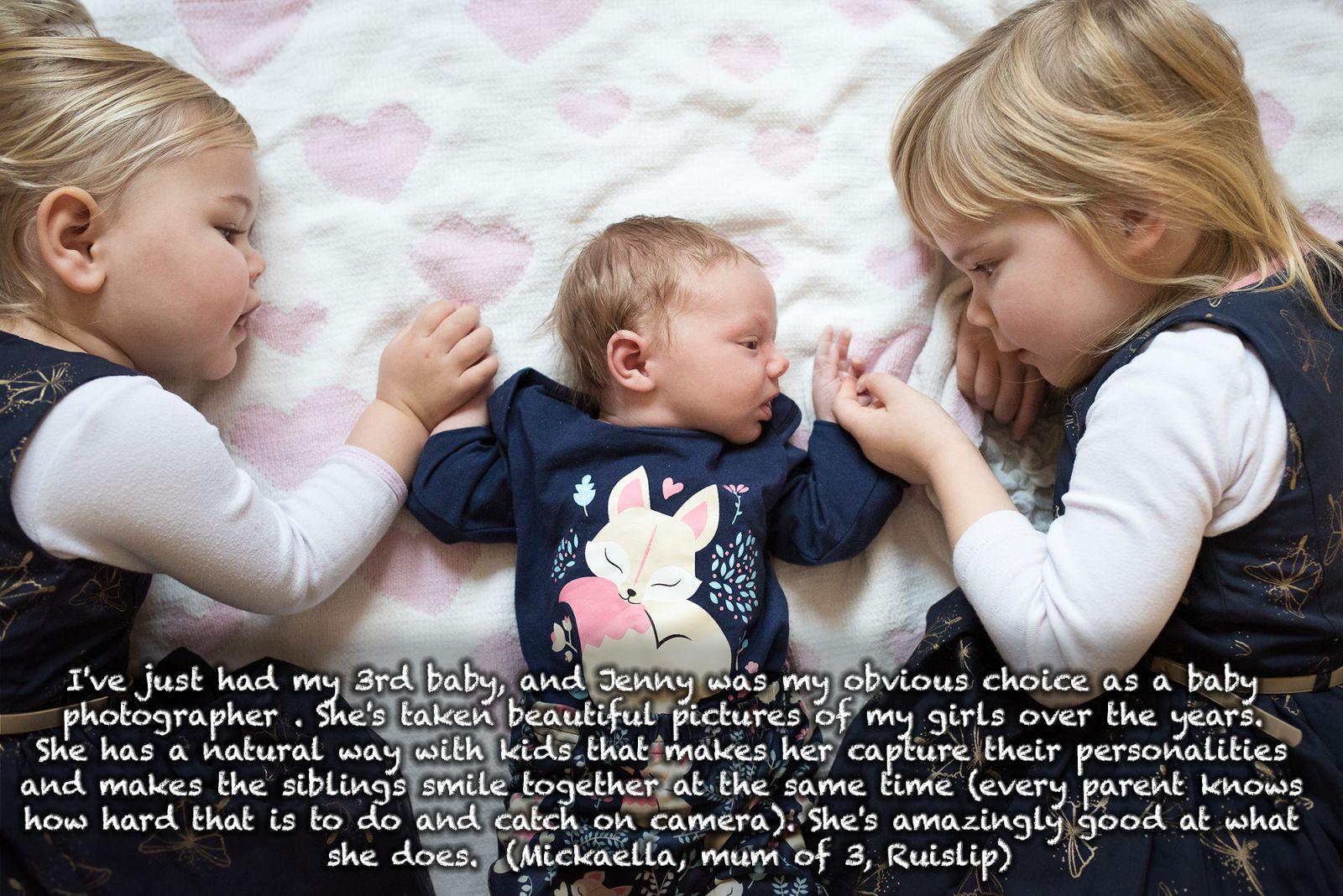 Newborn with sisters testimonial